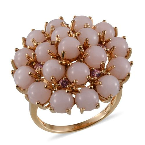 Peruvian Pink Opal (Rnd), Pink Tourmaline Cluster Ring in Yellow Gold Overlay Sterling Silver 8.750 Ct.