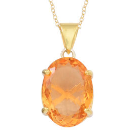Rare AAA Uruguay Citrine (Ovl) Pendant With Chain in 14K Gold Overlay Sterling Silver 11.000 Ct.