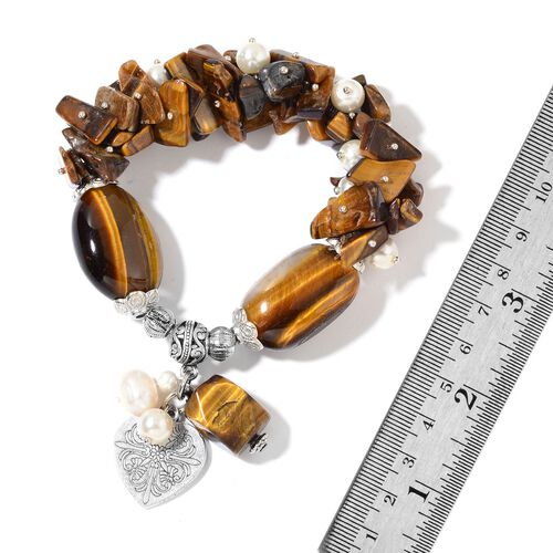 Set of 2 - Amethyst, Tigers Eye, Fresh Water White Pearl and White Glass Pearl Stretchable Bracelet (Size 7) with Heart Charm in Silver Tone 763.00 Ct.