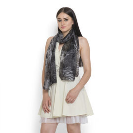 100% Silk Grey and Black Colour Leapord Pattern Scarf (Size 180x50 Cm)