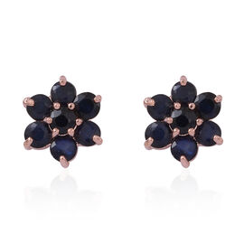 AA Kanchanaburi Blue Sapphire (Rnd) Floral Stud Earrings (with Push Back) in  Rose Gold Overlay Sterling Silver 1.250 Ct.