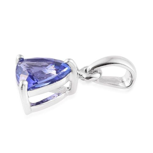 14K White Gold 1.25 Carat AA Tanzanite Trillion Solitaire Pendant