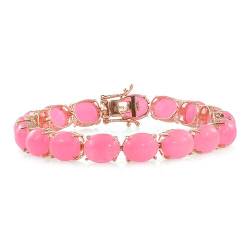 Pink Jade (Ovl) Bracelet (Size 7.75) in Rose Gold Overlay Sterling Silver 67.250 Ct.