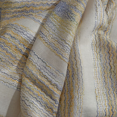Yellow, Black and Silver Colour Buff Stripe Pattern White Colour Jacquard Scarf (Size 180x70 Cm)