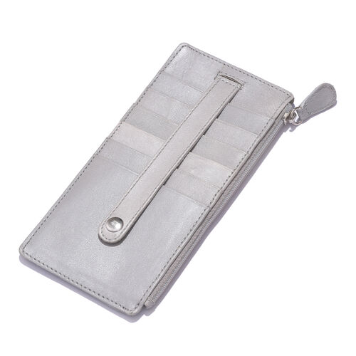 Genuine Leather RFID Blocker Silver Colour Ladies Wallet (Size 17x8 Cm)