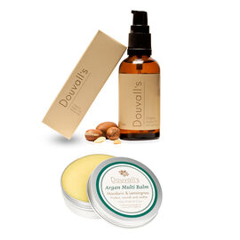 Alicia Douvall Argan Oil 50ml and Balm 100g in Gold Lettered Bag