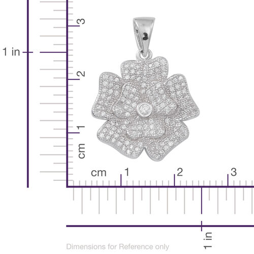 ELANZA AAA Simulated White Diamond (Rnd) Floral Pendant in Rhodium Plated Sterling Silver