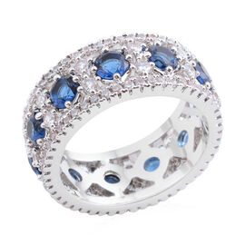 AAA Simulated Blue Sapphire (Rnd), Simulated Diamond Band Ring in Silver Bond