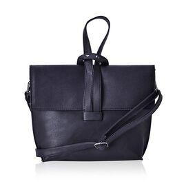 Classic Black Colour Handbag with Adjustable and Removable Shoulder Strap (Size 24x19.5x6 Cm)