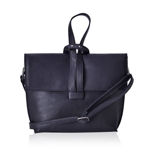 Classic Black Colour Handbag with Adjustable and Removable Shoulder Strap (Size 24x19.5x6 Cm)