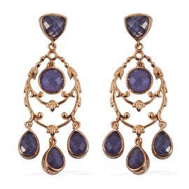 Royal Jaipur Tanzanite (Rnd), Burmese Ruby Chandelier Earrings (with Push Back) in 14K Gold Overlay Sterling Silver 8.250 Ct.