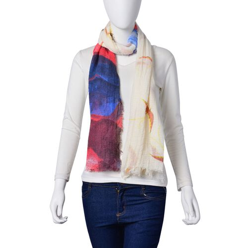 Sea Meaw Flying Over the Sea Pattern Red, Dark Blue and White Colour Scarf (Size 160x90 Cm)
