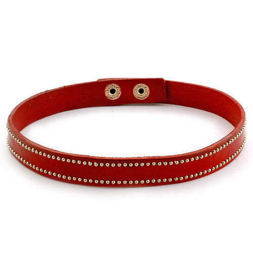 Dark Red Leather Studded Wrap Bracelet in Silver Tone (Size 16)