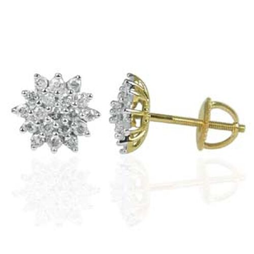 Diamond 9K Y Gold Earring 0.500 Ct