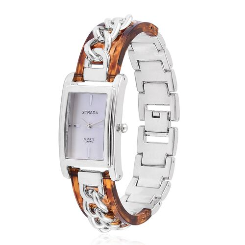 New Arrival - STRADA Genuine Mother of Pearl Japanese Movement Watch in Silver Tone with Brown Colour and Curb Chain Strap
