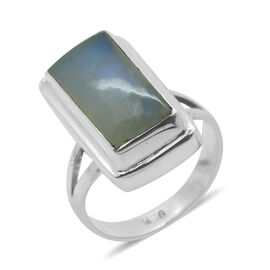 Royal Bali Collection Rainbow Moonstone (Oct) Solitaire Ring in Sterling Silver 8.050 Ct.