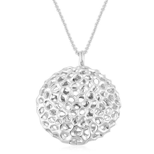 RACHEL GALLEY Rhodium Plated Sterling Silver Disc Locket Pendant With Chain (Size 30), Silver wt 19.00 Gms.