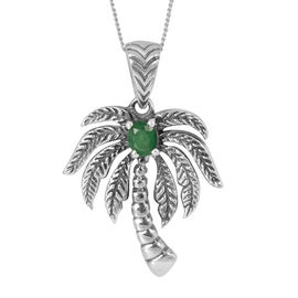 Tribal Collection of India Kagem Zambian Emerald (Ovl) Palm Tree Pendant With Chain in Sterling Silver