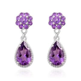 AA Lusaka Amethyst (Pear) Earrings in Platinum Overlay Sterling Silver 2.150 Ct.