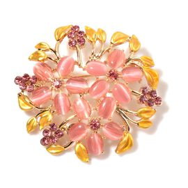 Simulated Pink Cats Eye and Pink Austrian Crystal Floral Brooch in Gold Tone