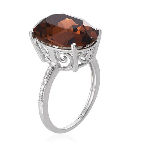 J Francis Crystal from Swarovski - Smoky Quartz Colour Crystal (Ovl) Ring in Platinum Overlay Sterling Silver