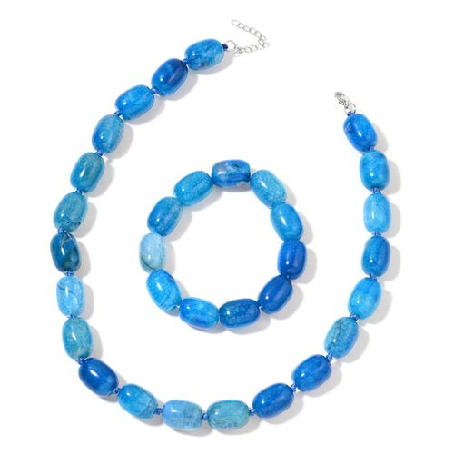 Blue Agate Necklace (Size 18 with 1 inch Extender) and Stretchable Bracelet (Size 7.5) in Silver Tone 821.000 Ct.