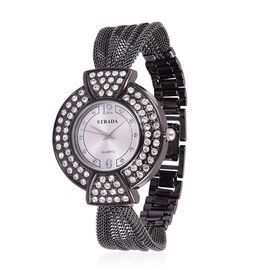 STRADA Japanese Movement Sunshine Pattern Dial with White Austrian Crystal Studded Water Resistant Watch in Black Tone with Stainless Steel Back