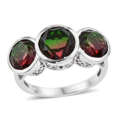 Bi-Color Tourmaline Quartz (Rnd 3.25 Ct) 3 Stone Ring in Platinum Overlay Sterling Silver 7.750 Ct.