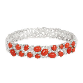 Natural Mediterranean Coral (Ovl) Bangle in Platinum Overlay Sterling Silver 7.000 Ct.