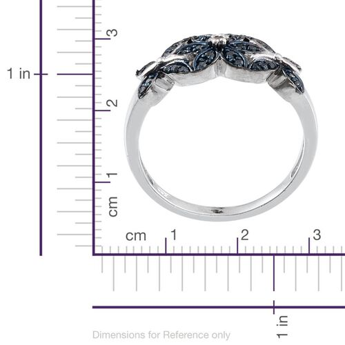 Blue Diamond (Rnd), White Diamond Ring in Sterling Silver 0.250 Ct.