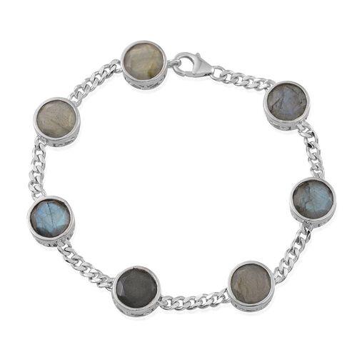 Labradorite (Rnd) Station Bracelet (Size 7.5) in Platinum Overlay Sterling Silver 19.000 Ct.