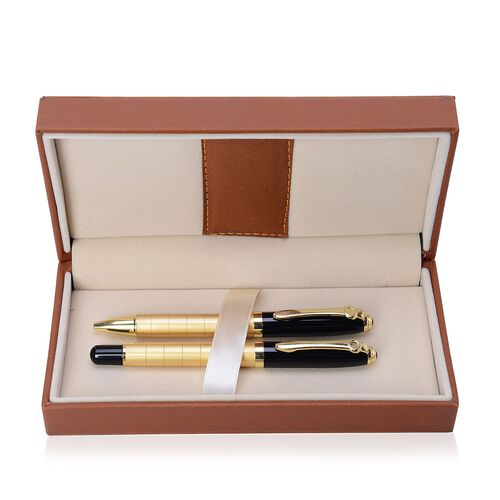 Set of 2 - Ball Point and Roller Pen (Black Ink) in Gold Tone in a Box