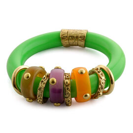 Green and Multi Colour Resin Bangle in Goldtone (Size 7.5)