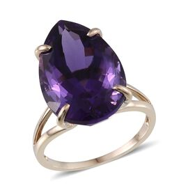 9K Y Gold Zambian Amethyst (Pear) Solitaire Ring 21.500 Ct.