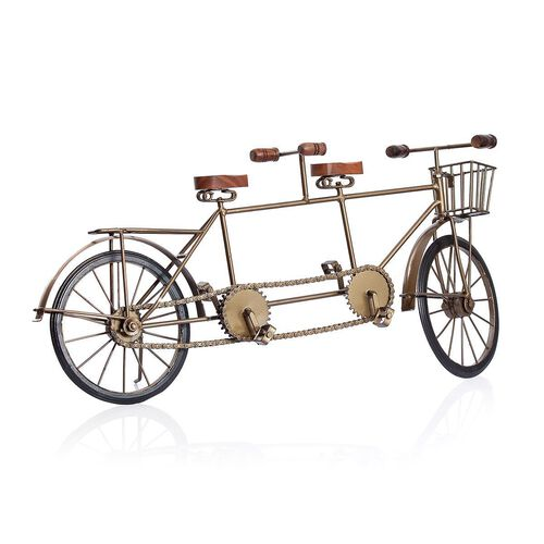 Home Decor - Golden Colour Hand Crafted 2 Seated Bicycle with a Basket at the Front