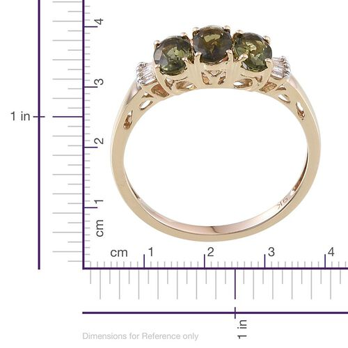 9K Y Gold Bohemian Moldavite (Ovl), Diamond Ring 1.150 Ct.