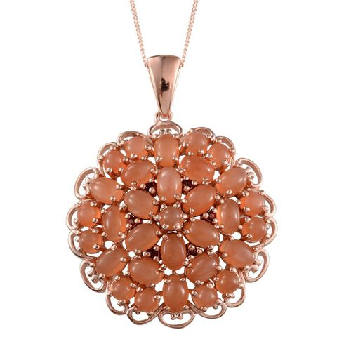 Mitiyagoda Peach Moonstone (Ovl), Mozambique Garnet Cluster Pendant With Chain in Rose Gold Overlay Sterling Silver 12.750 Ct.