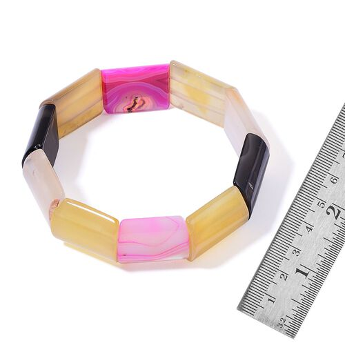 Multi Colour Agate Stretchable Bracelet (Size 7.5) 254.000 Ct.