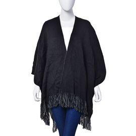 Black and Grey Colour Reversible Ruana (Size 150x65 Cm)