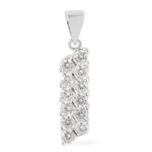 (Option 3) ELANZA AAA Simulated Diamond (Rnd) Pendant in Rhodium Plated Sterling Silver