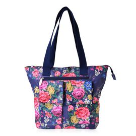 Multi Floral Pattern Navy Waterproof Tote Bag with External Zipper Pocket (Size 44x31x30.5x11 Cm)