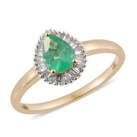 ILIANA 18K Yellow Gold 0.85 Carat Pear AAA Boyaca Colombian Emerald Ring With Diamond SI G-H