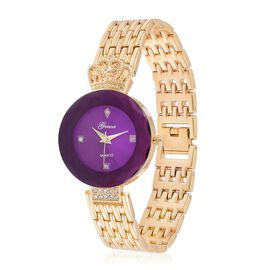 GENOA Japanese Movement Purple Dial with White Austrian Crystal Water Resistant Watch in Gold Tone with Stainless Steel Back and Chain Strap