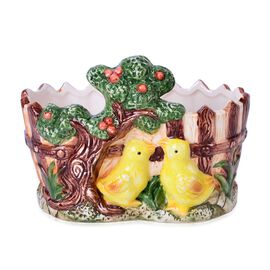 Home Decor - Ceramic Tree and Chickens Flower Pot (Size 19x15x12 Cm)