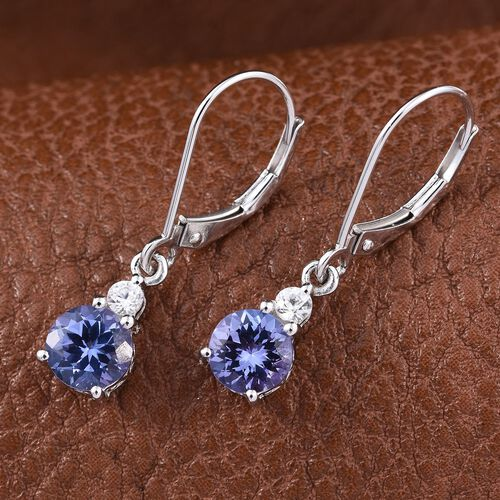 9K White Gold 2 Carat Tanzanite Round, Natural Cambodian Zircon Earrings with Lever Back.