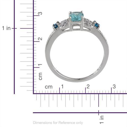 Paraibe Apatite (Cush 0.75 Ct), Malgache Neon Apatite and White Topaz, Ring in Platinum Overlay Sterling Silver 1.100 Ct.