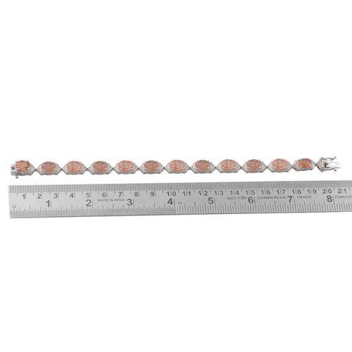 Tanzanian Sun Stone (Ovl), White Topaz Bracelet in Platinum Overlay Sterling Silver (Size 7.5) 18.400 Ct.