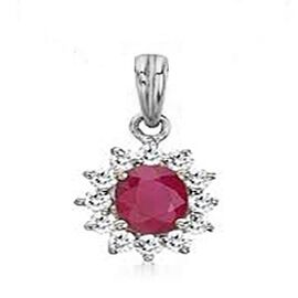 9K W Gold Burmese Ruby (Ovl 1.55 Ct), Natural Cambodian Zircon Pendant 2.000 Ct.