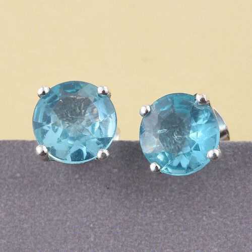 Paraiba Apatite (Rnd) Stud Earrings (with Push Back) in Platinum Overlay Sterling Silver 1.750 Ct.