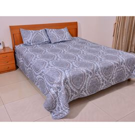 Blue White and Multi Colour Quilt (Size 240x230 Cm) and Shams (Size 70x50 Cm)